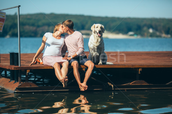 pregnant woman and her husband on the pier Stock photo © tekso