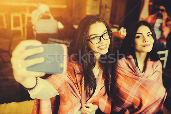 Dois fechar amigos café Foto stock © tekso