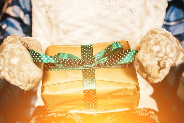 Сток-фото: девушки · замечательный · Vintage · подарок · Новый · год · снега