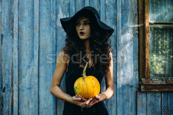Vintage женщину ведьмой позируют тыква рук Сток-фото © tekso