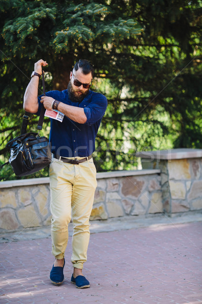bearded man walks through the city Stock photo © tekso