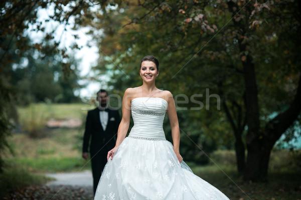 Hermosa boda Pareja pie otro Foto stock © tekso