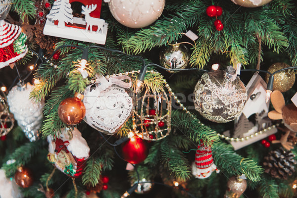 Stok fotoğraf: Noel · ağacı · şube · oyuncaklar · Noel · yakın · açı