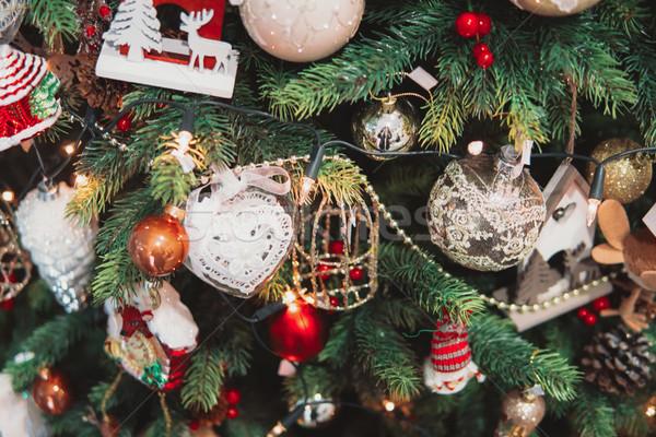 Christmas tree branch with toys Stock photo © tekso