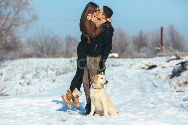 Stockfoto: Poseren · winter · park · cute · jonge
