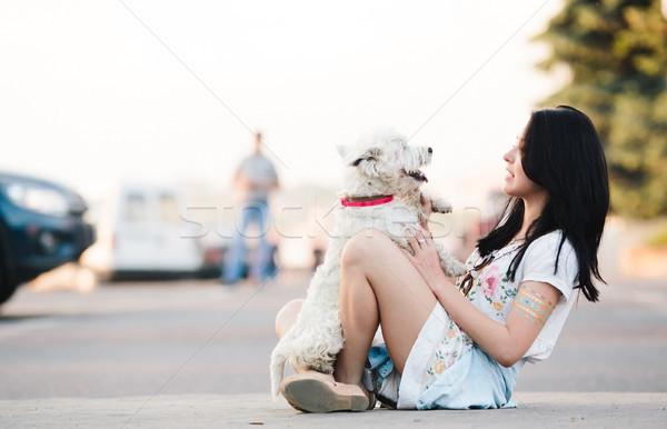 девушки собака город счастливым молодые женщины Сток-фото © tekso