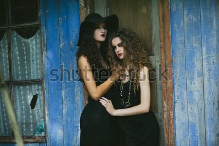 Two beautiful friends pose on white background Stock photo © tekso