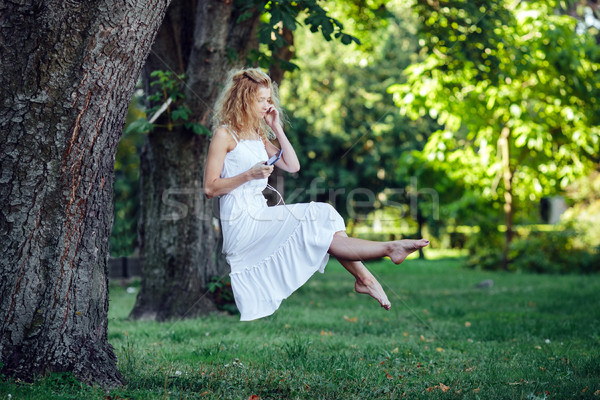 girl levitates in nature Stock photo © tekso