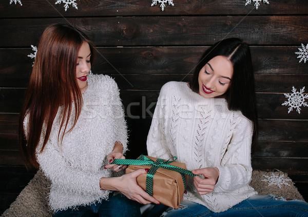 Twee mooie meisjes samen geschenken mooie Stockfoto © tekso