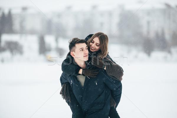 Adam kız arkadaş geri park kış tatil Stok fotoğraf © tekso