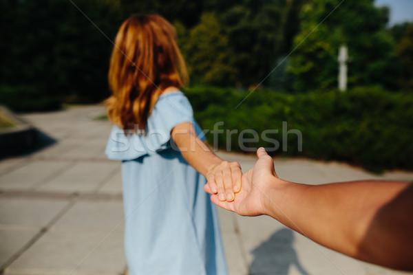 Mulher jovem mão parque família Foto stock © tekso