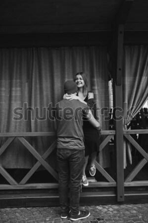 Man poseren jeans treinstation gezondheid achtergrond Stockfoto © tekso