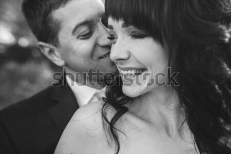 Mooie bruiloft paar deuropening poseren meisje Stockfoto © tekso