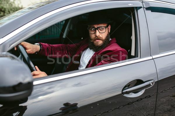 Stok fotoğraf: Adam · sakal · sürücü · araba · şık · zengin