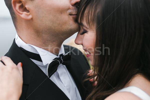 Menyasszonyi pár zárt egyéb pózol park Stock fotó © tekso
