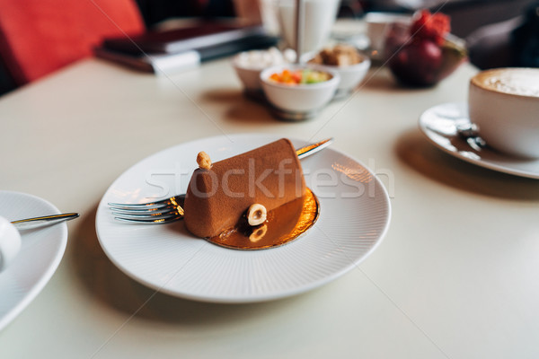 Chocolate cake on a plate Stock photo © tekso