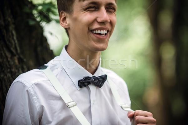 жених парка тесные мнение зеленый улыбка Сток-фото © tekso