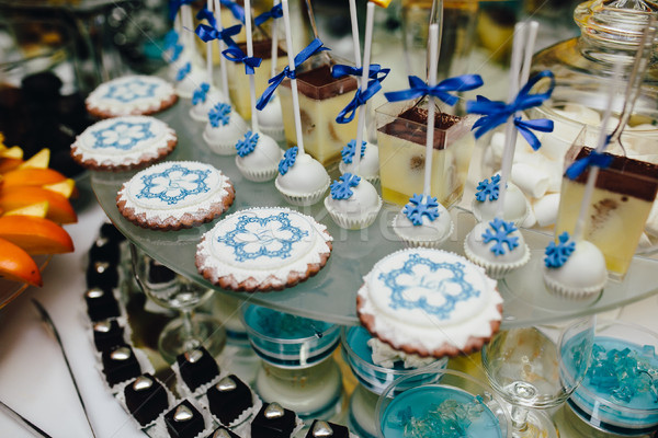 Cukorka bár esküvői ceremónia különböző cukorkák italok Stock fotó © tekso