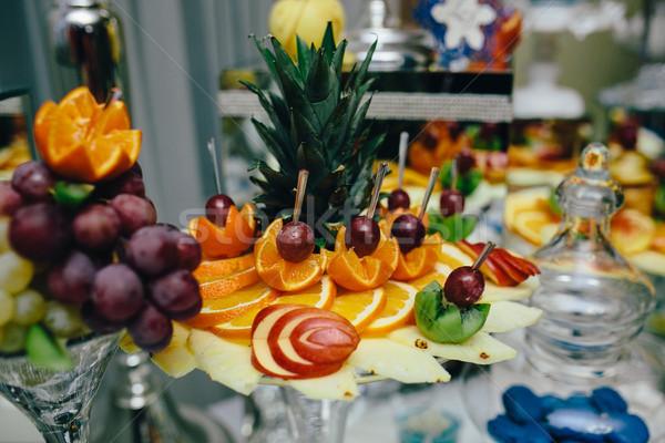 Bufê fruta tropical casamento banquete fruto verão Foto stock © tekso