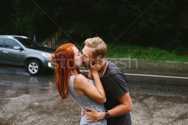 человека вверх подруга дождь женщину улыбка Сток-фото © tekso