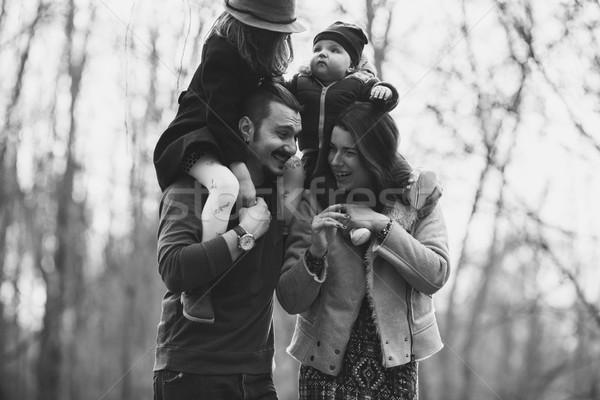 Familia feliz otono parque familia bebé Foto stock © tekso