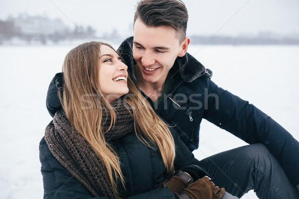 Pár ül hó park tél ünnepek Stock fotó © tekso