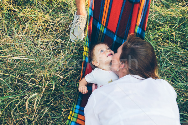 Feliz alegre jóvenes familia padre madre Foto stock © tekso