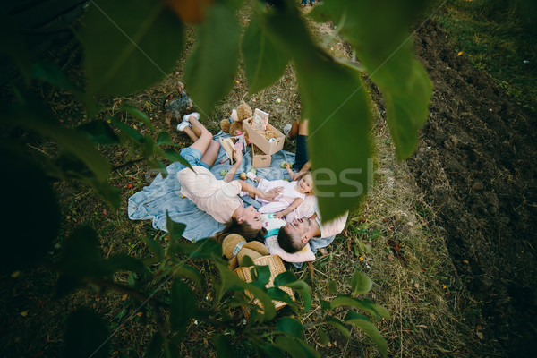 Gelukkig gezin gazon park foto familie meisje Stockfoto © tekso