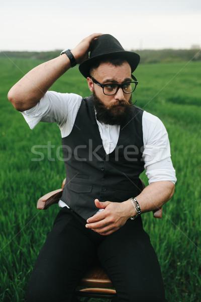 Sakallı adam tıraş alan sakal gözlük Stok fotoğraf © tekso