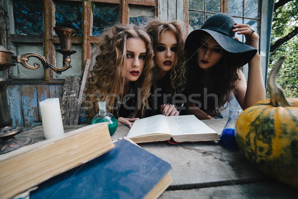 Three vintage witches perform magic ritual Stock photo © tekso