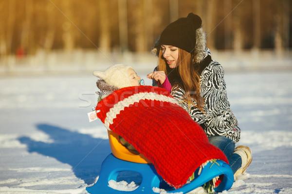 Anne kız kış açık havada mutlu aile Stok fotoğraf © tekso