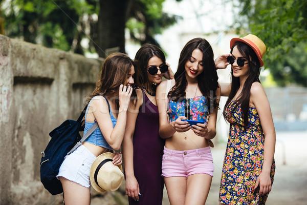 Stock photo: beautiful girls in the city