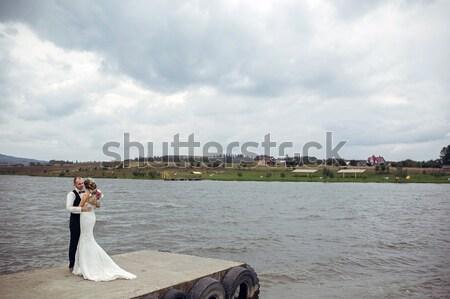 カップル 桟橋 時間 湖 家族 ツリー ストックフォト © tekso