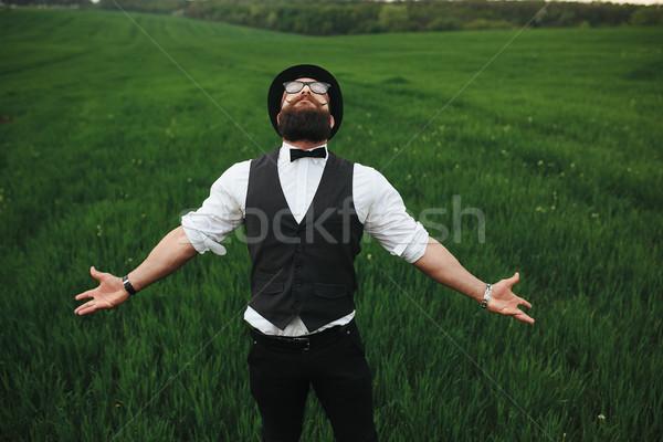 Férfi szakáll gondolkodik mező napszemüveg zöld Stock fotó © tekso