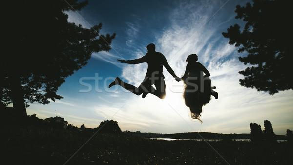 Damat gelin atlama güzel gökyüzü siluetleri Stok fotoğraf © tekso