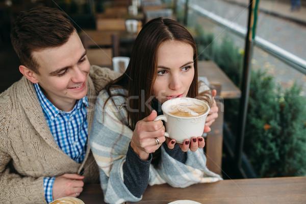 пару сидят тротуаре кафе романтические Сток-фото © tekso
