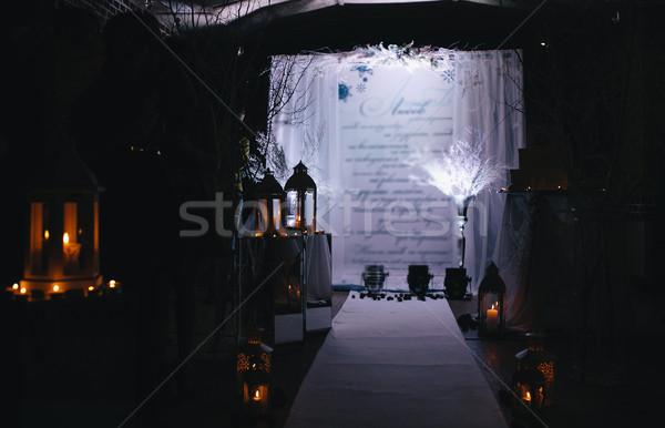 Menyasszony vőlegény szoba gyertya szolgáltatás fehér Stock fotó © tekso