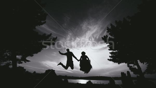 Novio novia saltar hermosa cielo siluetas Foto stock © tekso