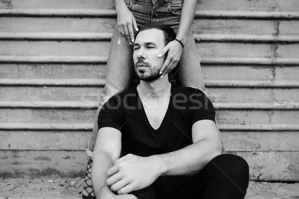 Homem cinza parede mulher posando família Foto stock © tekso