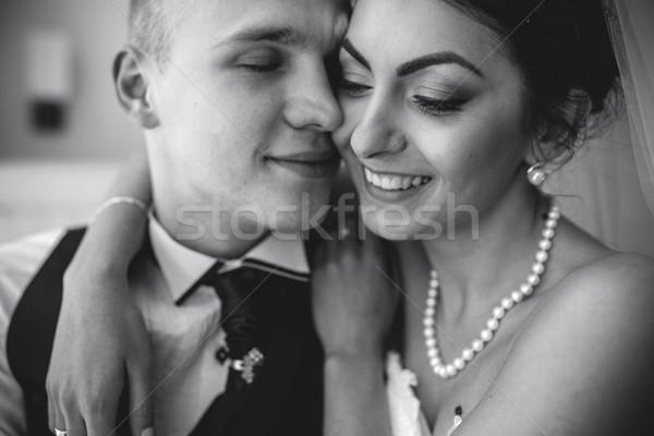 Előkészítés imádnivaló menyasszony gyönyörű kaukázusi buli Stock fotó © tekso