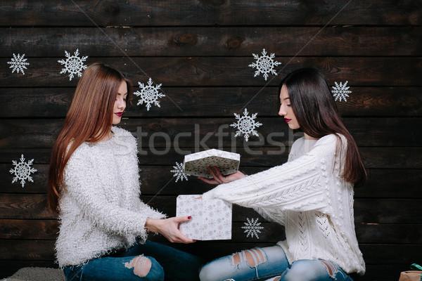 Iki genç kızlar parlak tatil Stok fotoğraf © tekso