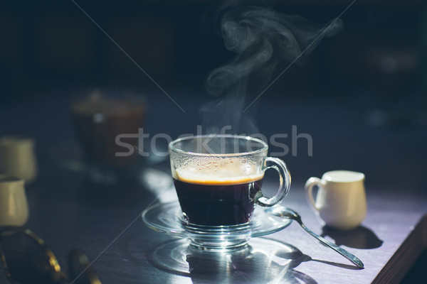 cup of hot coffee on the table Stock photo © tekso