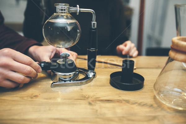 Előkészítés vákuum kávé klasszikus pár kávéfőző Stock fotó © tekso