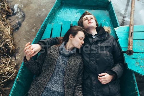 男 女性 うそをつく ボート ポーズ カメラ ストックフォト © tekso