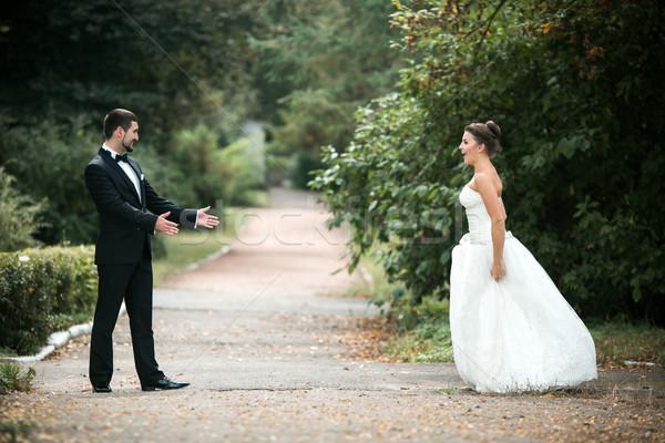 Güzel düğün çift ayakta karşı diğer Stok fotoğraf © tekso