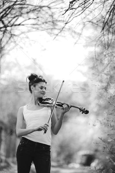 Gyönyörű lány hegedű kezek pózol park nő Stock fotó © tekso