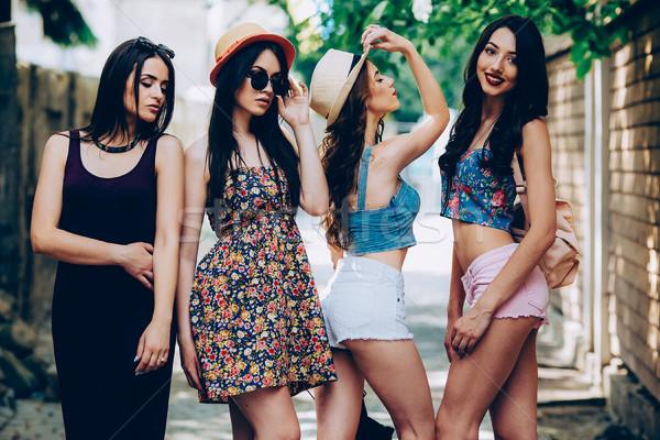 красивой девочек город четыре молодые позируют Сток-фото © tekso