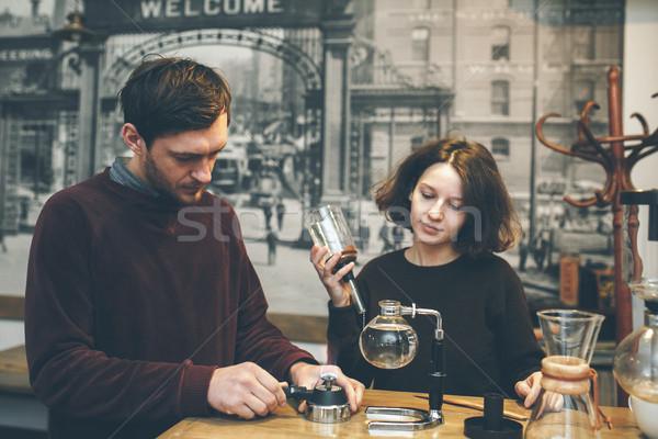 Vintage пару кофейня кофе вакуум кофеварка Сток-фото © tekso