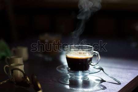 Foto d'archivio: Caffè · crema · tavola · mattina · Cup · caldo