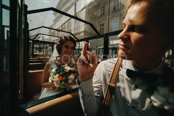 Menyasszony vőlegény pózol turné autó vonat Stock fotó © tekso